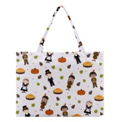 Pilgrims And Indians Pattern   Thanksgiving Medium Tote Bag