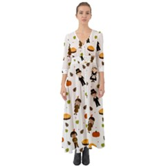 Pilgrims And Indians Pattern - Thanksgiving Button Up Boho Maxi Dress