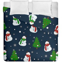Snowman Pattern Duvet Cover Double Side (king Size) by Valentinaart