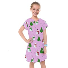 Snowman Pattern Kids  Drop Waist Dress by Valentinaart