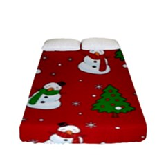 Snowman Pattern Fitted Sheet (full/ Double Size) by Valentinaart