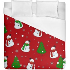 Snowman Pattern Duvet Cover (king Size) by Valentinaart
