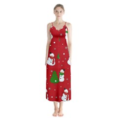 Snowman Pattern Button Up Chiffon Maxi Dress