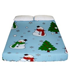 Snowman Pattern Fitted Sheet (king Size)