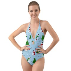 Snowman Pattern Halter Cut Out One Piece Swimsuit
