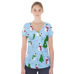 Snowman Pattern Short Sleeve Front Detail Top by Valentinaart