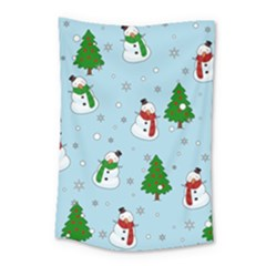 Snowman Pattern Small Tapestry by Valentinaart