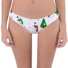 Snowman Pattern Reversible Hipster Bikini Bottoms by Valentinaart