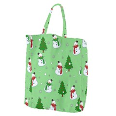 Snowman Pattern Giant Grocery Zipper Tote by Valentinaart