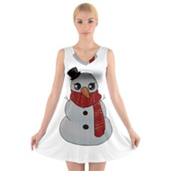 Kawaii Snowman V Neck Sleeveless Skater Dress