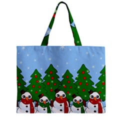 Kawaii Snowman Zipper Mini Tote Bag by Valentinaart