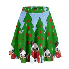 Kawaii Snowman High Waist Skirt