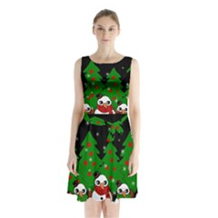 Kawaii Snowman Sleeveless Waist Tie Chiffon Dress
