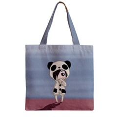 Kawaii Panda Girl Zipper Grocery Tote Bag by Valentinaart
