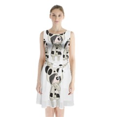 Kawaii Panda Girl Sleeveless Waist Tie Chiffon Dress by Valentinaart