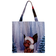 Christmas, Cute Little Piglet With Christmas Hat Zipper Grocery Tote Bag by FantasyWorld7