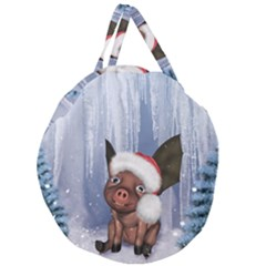 Christmas, Cute Little Piglet With Christmas Hat Giant Round Zipper Tote by FantasyWorld7