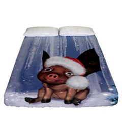 Christmas, Cute Little Piglet With Christmas Hat Fitted Sheet (california King Size) by FantasyWorld7