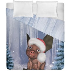 Christmas, Cute Little Piglet With Christmas Hat Duvet Cover Double Side (california King Size) by FantasyWorld7