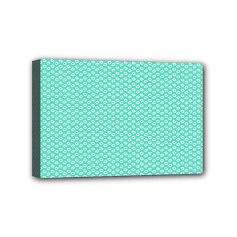 Tiffany Aqua Blue With White Lipstick Kisses Mini Canvas 6  X 4  by PodArtist
