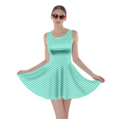 Tiffany Aqua Blue With White Lipstick Kisses Skater Dress by PodArtist