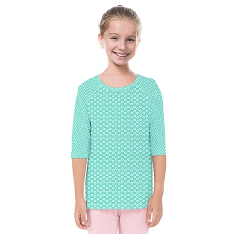 Tiffany Aqua Blue With White Lipstick Kisses Kids  Quarter Sleeve Raglan Tee by PodArtist