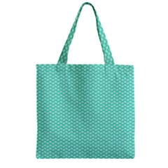 Tiffany Aqua Blue With White Lipstick Kisses Zipper Grocery Tote Bag by PodArtist