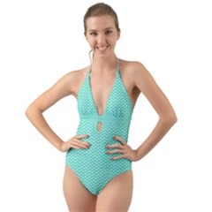 Tiffany Aqua Blue With White Lipstick Kisses Halter Cut Out One Piece Swimsuit by PodArtist