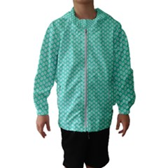 Tiffany Aqua Blue With White Lipstick Kisses Hooded Wind Breaker (kids) by PodArtist