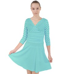 Tiffany Aqua Blue With White Lipstick Kisses Quarter Sleeve Front Wrap Dress	 by PodArtist