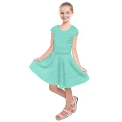 Tiffany Aqua Blue With White Lipstick Kisses Kids  Short Sleeve Dress by PodArtist
