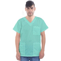 Tiffany Aqua Blue With White Lipstick Kisses Men s V Neck Scrub Top by PodArtist