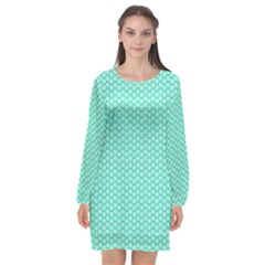 Tiffany Aqua Blue With White Lipstick Kisses Long Sleeve Chiffon Shift Dress  by PodArtist