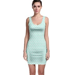 Tiffany Aqua Blue Lipstick Kisses On White Bodycon Dress by PodArtist