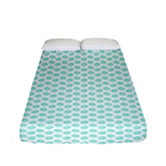 Tiffany Aqua Blue Lipstick Kisses On White Fitted Sheet (full/ Double Size) by PodArtist