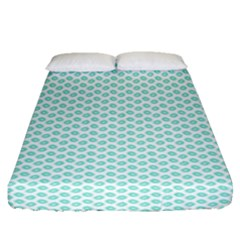 Tiffany Aqua Blue Lipstick Kisses On White Fitted Sheet (queen Size) by PodArtist