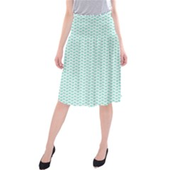 Tiffany Aqua Blue Lipstick Kisses On White Midi Beach Skirt by PodArtist