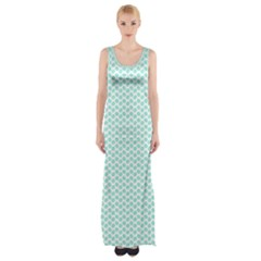 Tiffany Aqua Blue Lipstick Kisses On White Maxi Thigh Split Dress by PodArtist