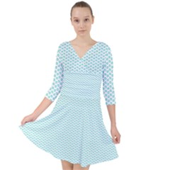 Tiffany Aqua Blue Lipstick Kisses On White Quarter Sleeve Front Wrap Dress