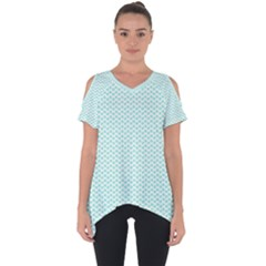 Tiffany Aqua Blue Lipstick Kisses On White Cut Out Side Drop Tee by PodArtist