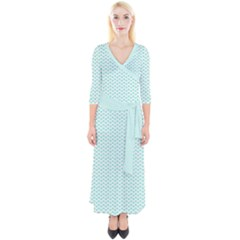 Tiffany Aqua Blue Lipstick Kisses On White Quarter Sleeve Wrap Maxi Dress by PodArtist