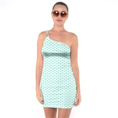 Tiffany Aqua Blue Lipstick Kisses On White One Soulder Bodycon Dress by PodArtist
