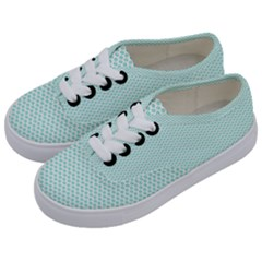 Tiffany Aqua Blue Lipstick Kisses On White Kids  Classic Low Top Sneakers by PodArtist