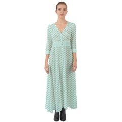 Tiffany Aqua Blue Lipstick Kisses On White Button Up Boho Maxi Dress