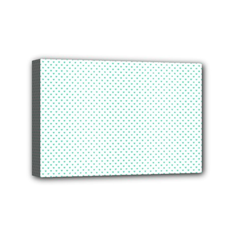 Tiffany Aqua Blue Candy Polkadot Hearts On White Mini Canvas 6  X 4  by PodArtist