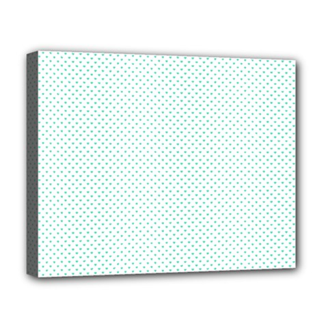 Tiffany Aqua Blue Candy Polkadot Hearts On White Deluxe Canvas 20  X 16   by PodArtist