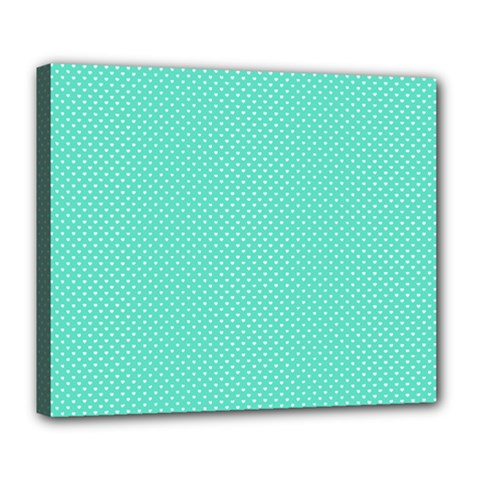 White Polkadot Hearts On Tiffany Aqua Blue  Deluxe Canvas 24  X 20   by PodArtist