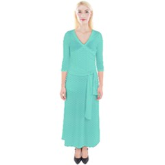 White Polkadot Hearts On Tiffany Aqua Blue  Quarter Sleeve Wrap Maxi Dress