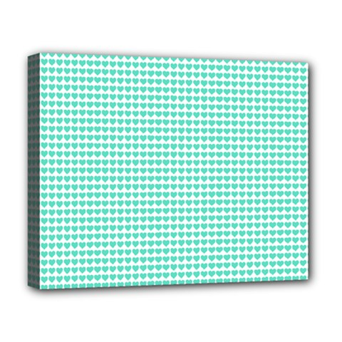 Tiffany Aqua Blue Candy Hearts On White Deluxe Canvas 20  X 16   by PodArtist