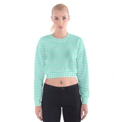 Tiffany Aqua Blue Candy Hearts On White Cropped Sweatshirt by PodArtist